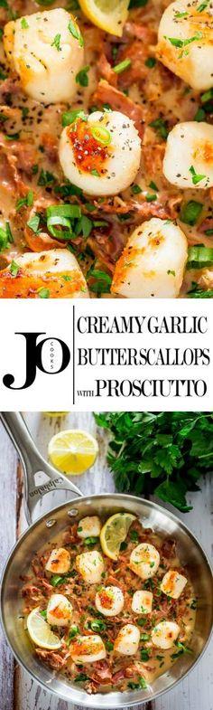 Creamy Garlic Butter Scallops with Prosciutto - fresh and succulent scallops in a creamy white sauce with prosciutto, garlic and butter.