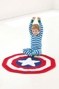 Captain America Inspired Crochet Blanket | AllFreeCrochetAfghanPatterns.com ~ easy level ~ FREE - CROCHET