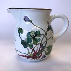 Villeroy & Boch Botanica Creamer Cream Pitcher Oxalis acetosella Flower Oxalis Acetosella, Brown Trim, Pattern Names, Cream, Pretty, Flowers, Beautiful, Products, Creme Caramel