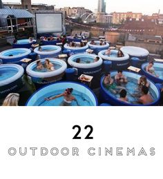 You've likely heard of Rooftop Cinema Club, or the popular Street Food Cinema outdoor movie screenings, but L.'s newest experience is Hot Tub Cinema Club! Outdoor Cinema, Outdoor Fun, Outdoor Theater, Dream Vacations, Vacation Spots, Oh The Places You'll Go, Places To Travel, Image Cinema, Kino Party