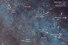 An image by NASA/ESA Hubble Space Telescope displays a section of the Andromeda Galaxy (M31) with annotations. Image released Jan. 5, 2015.<br />