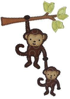 Monkey and Baby on a Branch  Machine Embroidery Applique Design. $4.00, via Etsy.