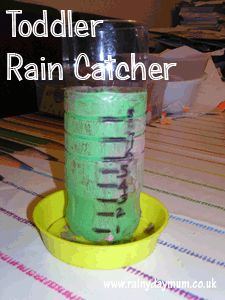 Toddler made Rain Catcher for the garden, start to introduce maths and science in a fun way early on.