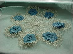 Antique Vintage Doily with Blue Raised Flowers 10 inch Round Lacy