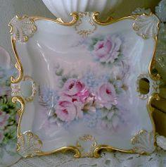 Olivia's Romantic Home: Darling Tea Time Sign! Antique Dishes, Vintage Dishes, Antique China, Vintage China, Vintage Tea, Painted Plates, Hand Painted, China Porcelain, Porcelain Ceramics