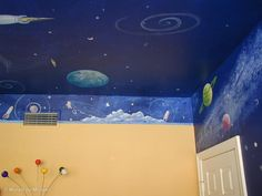 outer space painting with rocket and aliens for kids | Outer Space Murals