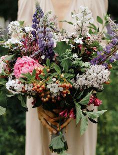 peony wildflower lupine bouquet