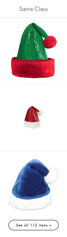 """Santa Claus"" by lence-59 ❤ liked on Polyvore featuring filler, accessories, hats, christmas, fake fur hats, sequin hat, green hat, pom pom hat, christmas hat and top hat"
