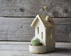 Your marketplace to buy and sell handmade items. - This delicate little house would make a nice gift. The tealight holder is made with white stoneware - Clay Houses, Ceramic Houses, Ceramic Clay, Ceramic Pottery, Clay Projects, Clay Crafts, Cerámica Ideas, Pottery Houses, Selling Handmade Items