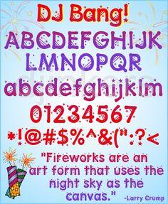 DJ Bang fireworks font, star font, American font, patriotic font, star lettering