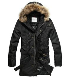 France Moncler Coat Men Hooded Fur Collar Black Outlet