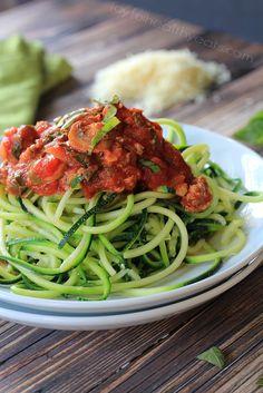 Zucchini Noodles with Meat Mushroom Tomato Sauce {Gluten Free & Paleo}... a healthy way to enjoy pasta!| www.joyfulhealthyeats.com