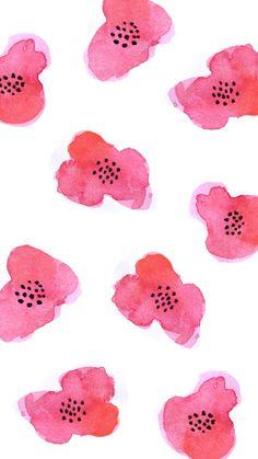 Pink Watercolor Flowers iPhone Wallpaper