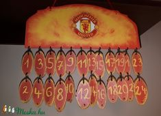 Advent calendar for Manchester United fans wooden wallhanger with tiny handmade paper envelopes and notes for football sport fans giftidea Manchester United Football, Football Design, Liquor Bottles, Wall Hanger, Advent Calendar, Champagne, My Etsy Shop, Fa, Neon Signs