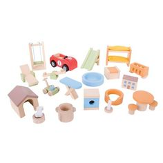 Bigjigs Heritage Playset Doll Furniture Set Home and Garden @ Kiddicare.com
