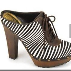 """SAM EdelmanfLASH SALE fabulous shoes!!! No longer available, these Zebra striped lace-up clogs by Sam Edelman are to die for. These are a size 6 and please look at the toes as they have some wear.  Heel height is 5 1/2 """". Sale price does not qualify for the Buy one get one free. Price is FIRM and FINAL!!! Sam Edelman Shoes"""