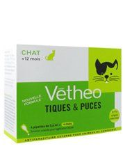 Vétheo Ticks and Fleas Cats 4 Pipettes by Vétheo. $29.83. Vétheo Ticks and Fleas Cat is an external anti-parasite for cats from the age of 12 months. It protects your cat from ticks and fleas.Vétheo Ticks and Fleas Small Dog have been especially elaborated to treat your cat each month. Their formula concentrates a natural origin ingredient, selected to:- repel the ticks and fleas- protect your animal from any other infestation during 4 weeks- fight against reinfestati...