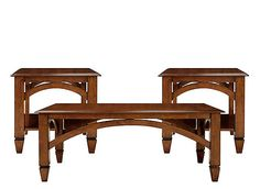 If your design style tends toward traditional, this Beaumont 3-piece table set is sure to please. Slightly beveled tabletops, spade feet and arching aprons provide subtle decoration, and the medium finish will match virtually any room color. Plus, you can rely on the exceptional craftsmanship for lasting quality.