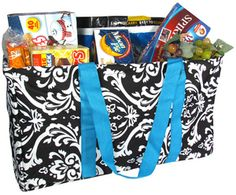 Black and White Damask Collapsible Haul-It-All Utility Basket #DMSK401-200-TURQUOISE (Shown with Optional Personalization)