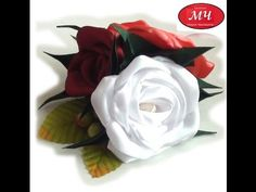 МК Двухцветный цветок из атласной ленты. D.I.Y. Ribbon flower - YouTube