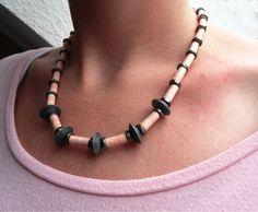 Peach Pink Grey paper bead necklace grey by Papierfuchsjewellery