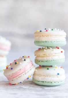 Cake Batter Macarons - Amazing, accurate flavor! Need to let the piped batter set on silpat instead of in bag to form film, add nonpareils to cookies prior to baking, leave pan on top oven shelf to keep from browning, and use gel food dye instead of liquid.