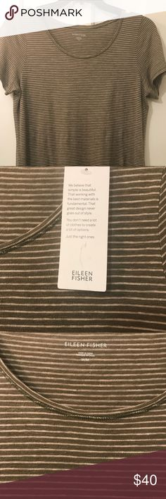 Eileen Fisher Organic Cotton Dress.  Medium. New Eileen Fisher Organic Cotton Tee Shirt Dress.  Medium. NWT. Olive with white stripes.  Great for summer.  Add a belt and sandals and you're ready for a night out!     Cleaning out my closet and never wore it! No marks or fading (just weird lighting!) Eileen Fisher Dresses Midi