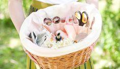 picnic, basket, bike, bicycle, pink, silverware, scissors, knife, fork, spoon, woman, holding