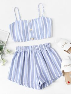 Striped Cami Top With Shorts [twopiece180516305] - $28.00 : cuteshopp.com