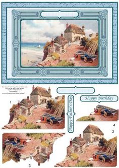 - card topper with easy cut step by step decoupage. Features a framed vintage scene of a cottage on the hilltop, with vie. Christmas Topper, 3d Sheets, 3d Cards, Decoupage Paper, Paper Decorations, Digital Stamps, Top View, Hobbies And Crafts, Card Making