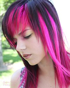 platinum colored hair with black and pink peekaboo under