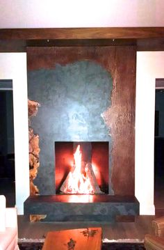 Stunning fireplace featuring Slate, Maple Burl and Weathered Metal - Broken Down Designs, Toronto Maple Burl, Slate, Toronto, Living Room, Metal, Design, Home Decor, Homemade Home Decor, Chalk Board