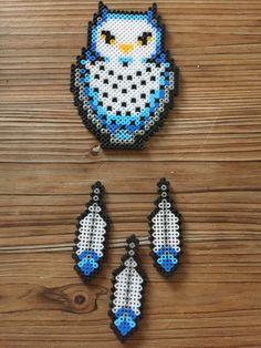 chouette + 3 plumes Hedwige Harry Potter perles hama à suspendre déco fait main Geek Pixel Art