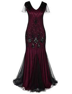PrettyGuide Women 1920s Ball Gown Bead Sequin Art Deco Me...
