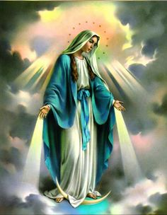 Our Lady, Queen of Heaven holy card Religious Pictures, Jesus Pictures, Religious Icons, Religious Art, Divine Mother, Blessed Mother Mary, Blessed Virgin Mary, Catholic Religion, Catholic Art