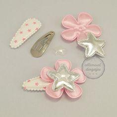 Zelfmaakpakket haarspeldjes (S) wit roze ster (1 paar)