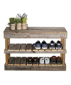Look what I found on #zulily! Barnwood Shoe Rack & Bench #zulilyfinds