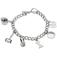 7 1/2 Marvel Avengers 3-D Charm Bracelet in Stainless Steel with... (1.064.960 IDR) ❤ liked on Polyvore featuring jewelry, bracelets, charm bracelet jewelry, chains jewelry, stainless steel charms, charm bracelet bangle and charm jewelry