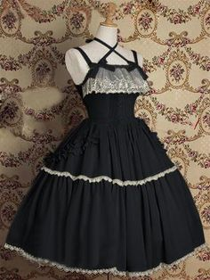 Classic Black Cotton Lolita Dress With Shoulder-straps
