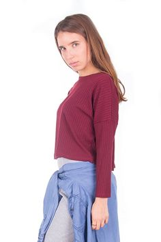 Simply Love 'Crop Top' Soft 3/4 Sleeve Mock Turtleneck T-Shirt Stretch Top Stripes Boxy Fit Top Blouse Women's (S, Bordo)
