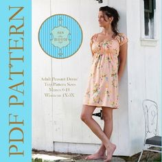 Women's Peasant Dress Pattern - Sis Boom Meghan Peasant, PDF E-Book