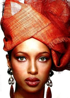 Turban of natural sisal by Yves Saint Laurent, very beautiful face
