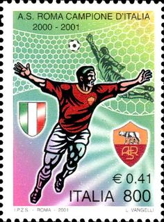 Giocatore della Roma esultante As Roma, Football Art, Football Players, Soccer Post, Soccer World, Stamp Collecting, Postage Stamps, Baseball Cards, History