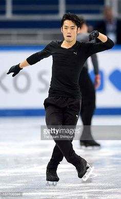 Daisuke Takahashi of Japan in action during the training session ahead of the ISU Grand Prix of Figure Skating Final at Iceberg Skating Palace on...