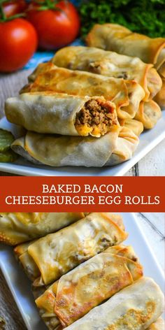 Baked Bacon Cheeseburger Egg Rolls - 4 Sons 'R' Us - - A delicious new spin on cheeseburgers, we've stuffed crispy egg rolls with the classic American burger filling & baked them for a healthier app or snack. Egg Roll Recipes, Clean Recipes, Beef Recipes, Cooking Recipes, Healthy Recipes, Hamburger Recipes, Barbecue Recipes, Cooking Tips, Healthy Food
