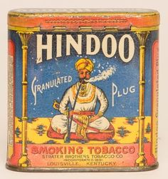 """Hindoo Granulated Plug Smoking Tobacco Vertical Pocket Tin with bright colors and minor wear. Size: 3.5"""" x 3.5"""" x 1"""""""