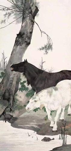 #chineseanimalpainting #brushpaintinghorses #chinesefinearthorses