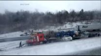 Winter whiteout conditions blamed for a horrific highway pileup in Pennsylvania