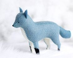 Blue Fox Soft Sculpture / Blue Fox Art / by PastYourPorchlight Sewing Toys, Sewing Crafts, Sewing Projects, Felt Animal Patterns, Stuffed Animal Patterns, Felt Fox, Sewing Stuffed Animals, Fox Art, Soft Sculpture