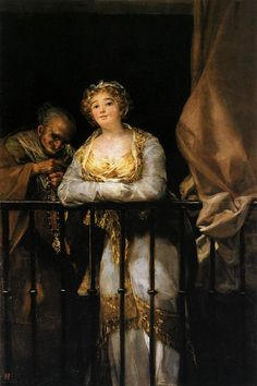"""Francisco de Goya: """"Maja y celestina al balcón"""". Oil on canvas, 166 x 108 cm, c. 1808-1812. Private collection"""